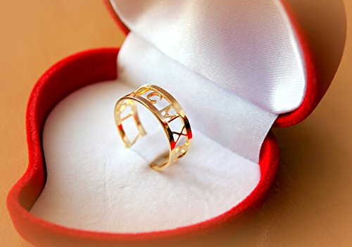 Roman numeral ring 14K gold Anniversary engagement ring ,personalized ring gift idea for her (Numeral Rings Roman Anniversary)
