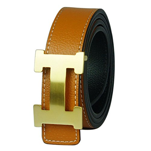 G-FOR Women H Reversible Leather Belt With Removable Buckle 34inch ()