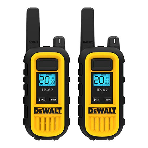 DEWALT DXFRS300 Heavy Duty Walkie Talkies - Waterproof, Shock Resistant, Long Range & Rechargeable Two-Way Radio with VOX (2 Pack)