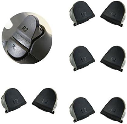 【ノーブランド 品】PS4コントローラに適用 L2、R2、L1、R1 交換用ボタン ブラック