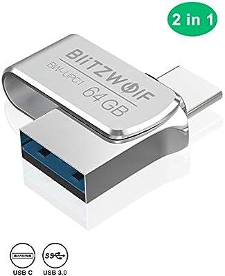 Memoria USB 64GB, BlitzWolf USB 3.0 +Tipo C Memoria Flash USB Pendrive Aluminio(Plateado)
