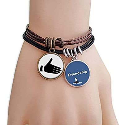 YMNW Reach Out Gesture Silhouette Pattern Friendship Bracelet Leather Rope Wristband Couple Set Estimated Price -