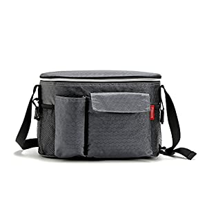 TooPhoto Lunch Box Cooler Warmer Bag Insulated Picnic Outdoor Food Fruit Drink Gray