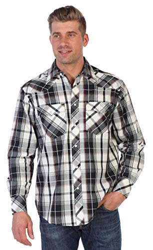 Gioberti Men's Western Plaid Shirt with Pearl Snaps, Maroon/Black/Gray Highlight, Size X-Large