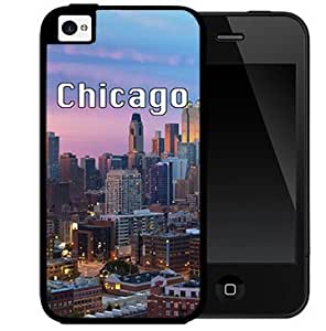 Chicago City Skyline Wallpaper (iPhone 4/4s) 2-piece Dual Layer High Impact Black Silicone Cover Case