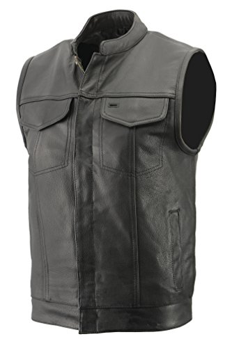 Mens Club Style Vest in Premium Naked Cowhide Leather, Patch Access Feature, Concealed Gun Pocket Biker Vest (Black, L)