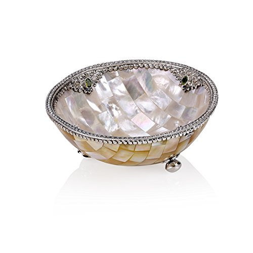 Christmas Tablescape Decor - Mother-of-pearl ornate sterling silver and genuine peridot gemstone bowl by Neda Behnam Home Décor
