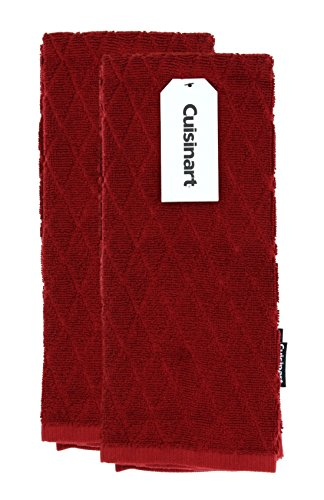 Cuisinart Bamboo Dish Towel Set-Kitchen and Hand Towels for Drying Dishes or Hands - Absorbent, Soft and Anti-Microbial-Premium Bamboo Cotton Blend, 2 Pack, 16 x 26 Inches, Red Dahlia, Diamond Design