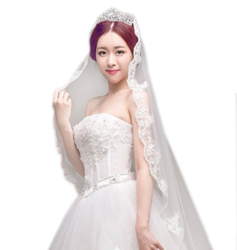 Price comparison product image Jovono Women's Wedding Bridal Head Veils with Lace Decals One Tier Cathedral (Ivory)
