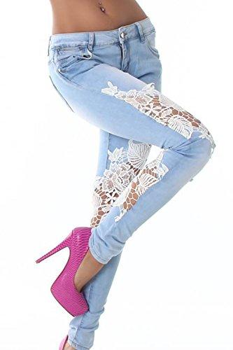 Women 's Summer Lace Patchwork Jeans Casual Lápiz Pantalones Blue
