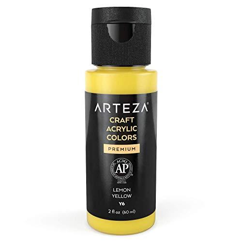 Arteza Craft Acrylic Paint Y6 Lemon Yellow , 60 ml Bottles, Water-Based, Matte Finish, Blendable Paints for Art & DIY Projects on Glass, Wood, Ceramics, Fabrics, Paper & Canvas