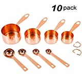 10 Pack Measuring Cups&Spoons&Rings, Unop Rose Gold-Mirror Polished-Engraved Markings-Stackable Nesting Cup Set-Stainless Steel Copper Cups and Spoons for Dry and Liquid Ingredients/Cooking/Baking