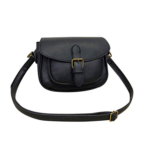 Price comparison product image Women Vintage Handbag , Todaies Fashion Women Leather Splice Handbag Women Shoulder Bag Crossbody Bag Tote Bag 2018 (20cm(L)17cm(H)6cm(W),  Black)