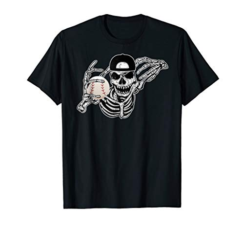 Halloween Skeleton Baseball Player Skull Hands Tshirt for $<!--$19.99-->