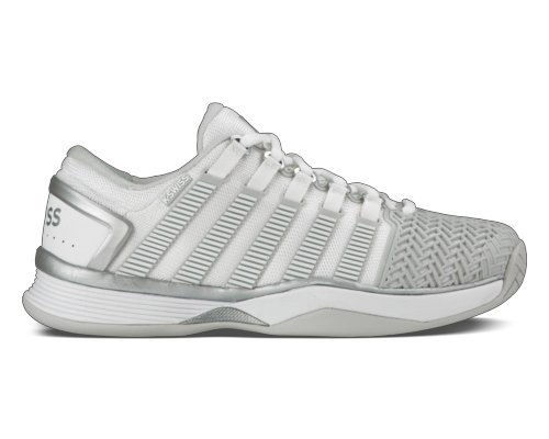 K-Swiss Women`s Hypercourt 2.0 Tennis Shoes White and Glacier Gray-(888758556952