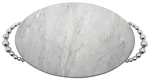Mariposa 2728 Pearled Marble Serving Board, One Size, Silver
