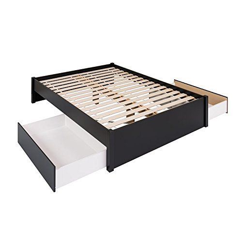 (Prepac Select Queen 4-Post Platform Bed with 2 Drawers in Black)