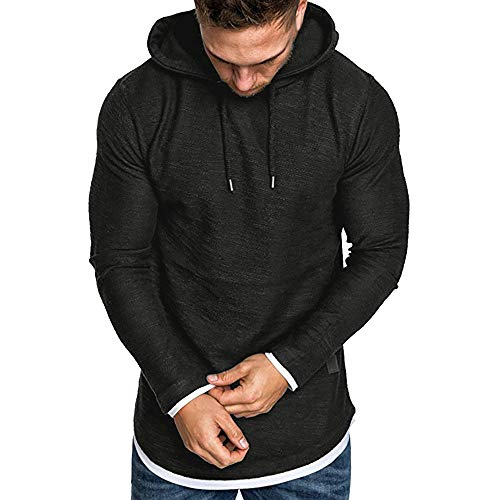 Sunhusing Men's Autumn Solid Color Long Sleeve Hooded Pullover Drawstring Short T-Shirt Top