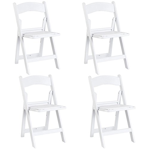 Giantex 4 Pcs Folding Chair Wedding Banquet Ergonomic Stackable Chair with Padded Seat, White ()