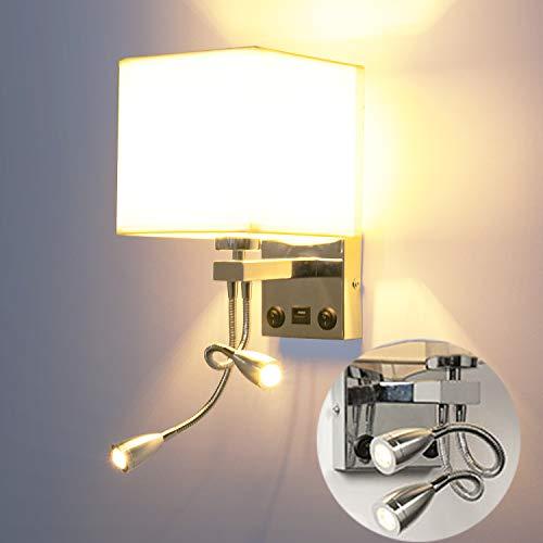 LEDMO Wandlampen dimbaar bedlampje E27 met instelbare LED leeslamp, leeslamp LED zwanenhals lamp LED bedlamp dimbaar…