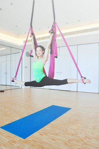 amazon     lovess deluxe aerial yoga hammock large bearing yoga swing sling trapeze for aerial yoga inversion tool flying antigravity pink   sports  u0026     amazon     lovess deluxe aerial yoga hammock large bearing yoga      rh   amazon