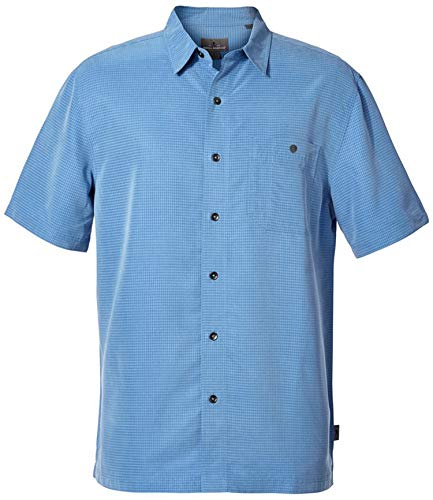 Royal Robbins Men's Mojave Pucker Dry Short Sleeve Shirt, Parisian Blue - XL US