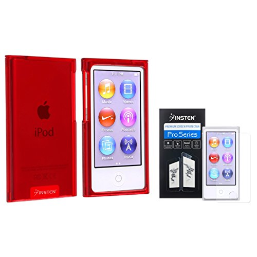Insten Clear Red Slim Snap-on Case + Anti-Glare Screen Protector Compatible with Apple iPod nano 7th Generation