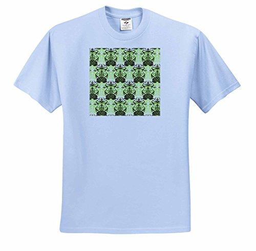 Russ Billington Patterns - Damask Wallpaper Pattern in Green Brown and White - T-Shirts - Adult Light-Blue-T-Shirt 2XL (54 Wallpaper)