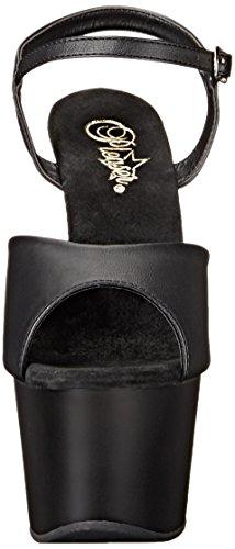 Schwarz 709 Leather blk Sandalias Con blk Abierta Mujer Adore Punta Faux Matte Pleaser Zqx0A0