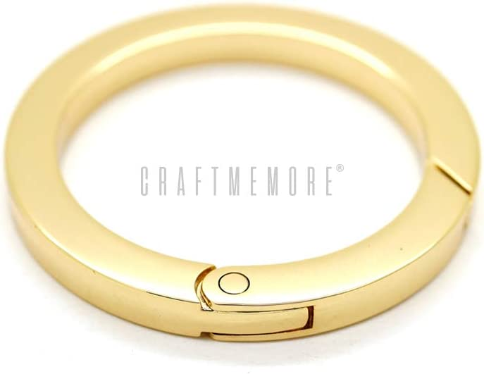 CRAFTMEmore Metal O Ring Spring Opening Purse Making Snap Trigger Flat Angle-Edge O-Rings Clip Key Ring Holder Bag Hardware 2 Pack Inside Diameter 1 Inch, Gold