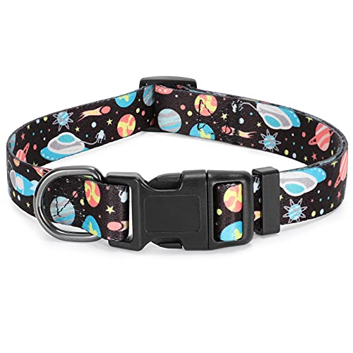 Cute Dog Collar Personalized Adjustable Soft Dog Collars with Unique Patterns for Puppy Small Medium Dogs by WHIPPY, Black, S