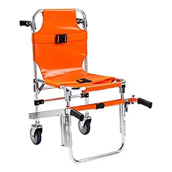LINE2design EMS Stair Chair - Ambulance Firefighter Evacuation Medical Foldable Aluminum Lift Stair Chair + 3 Adjustable Straps with Quick Release Buckles - Orange