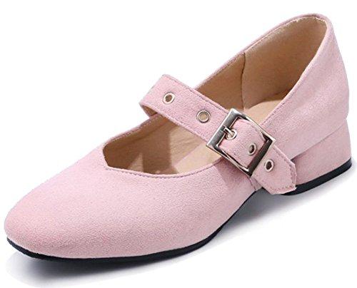 Mary Aisun Riemchen Jane Halbschuhe Damen Blockabsatz Cut Pink Low Schnalle wxt4YxCq