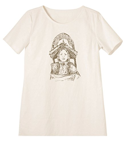 Empress Dowager Cixi Print Linen Short Sleeves Vintage Mini Shift Dress WDS_06 8