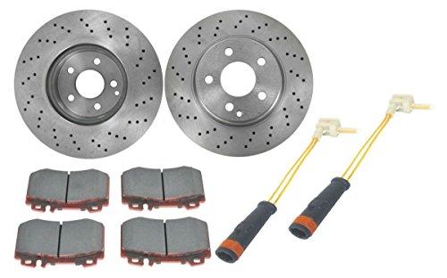 Front Ceramic Brake Pads & Vented Rotors w/Sensors Kit Set for Mercedes Benz ()