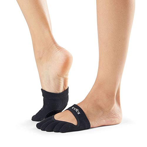 ToeSox Women's Releve Full Toe Grip Socks (Black) Medium