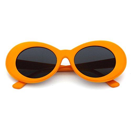 The Culture Classic's Sunglasses Cobain Oval Thick Frame Clout Goggles (Orange Frame + Grey - Khalifa Wiz Sunglasses