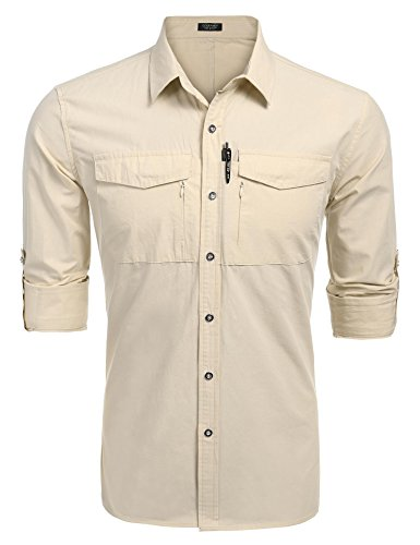Fishing Long Cotton Sleeve Shirt (COOFANDY Men's Performance Quick Dry UV Protection Outdoor Shirt Long Sleeves Hiking Fishing Shirts,Apricot,Medium)