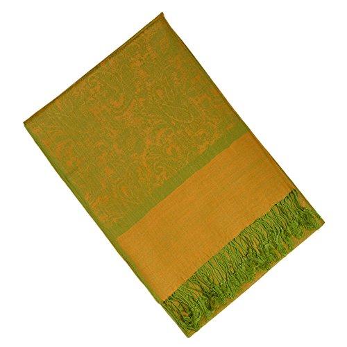 Veronz Silk Blend Jacquard Paisley Tapestry Pashmina Scarf Shawl Wrap Stole (Gold-Green)