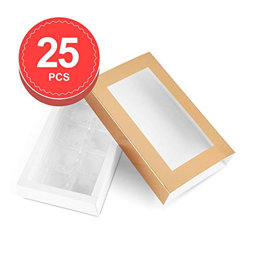 (BAKIPACK Truffle Box, Chocolate Box Packaging, Candy Boxes with 8-Piece Plastics Tray(Tray Size with 5.75x2.75 Inches), Pull Out Packing with Clear Window Sleeves, Gold 25 PCS)