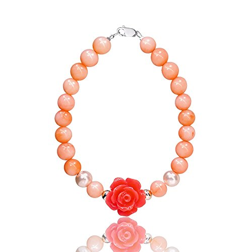 D Charm Premium Bracelet For Baby Girls & Women - With Coral & Rose Beads - Sterling Silver - Great Gift idea (Adult size L (8 inches)) by D Charms
