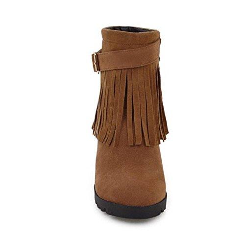 COOLCEPT Damen Klassische Winterstiefel Zipper Brown
