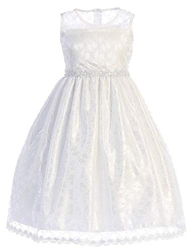 (White Little Girls Lace Flower Girl First Communion Pageant Wedding Birthday Dress SP161 Size)