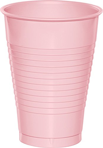 Creative Converting Touch of Color 20 Count Plastic Cups, 12 oz, Classic Pink