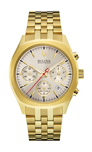 (Bulova Mens 97B150 Quartz Chronograph Gold Tone Watch (Renewed) )