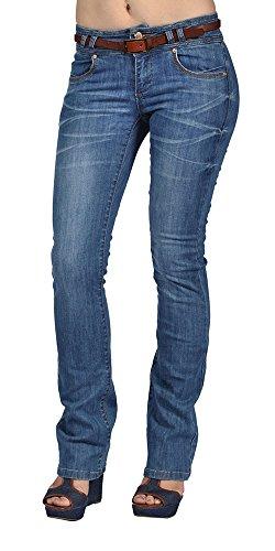 Cest Toi Womens Belted Bootcut Jeans Dark Wash supplier