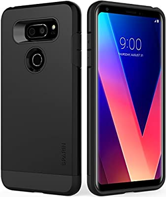 SPARIN LG V30 / LG V30+ Case, Dual Layer Black Tough Phone Case for LG V30 with Shock Absorbing / Scratch Proof / Precise Designed, 6 Inch, Black by SPARIN