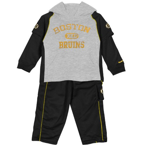 NHL Boston Bruins Little Boys Toddler Faux Layer Shirt and Pants Set (Kids Nhl Boston Bruins Uniform Set)
