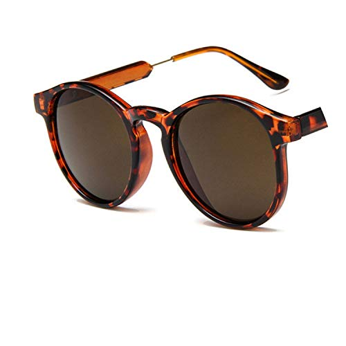 Unisex retro round sunglasses women 2018designer trending products Leopard yellow transparent frame circle glasses,C4 (Spiegel, Transparent)