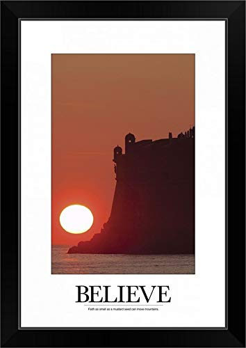 CANVAS ON DEMAND Believe: Faith as Small as a Mustard Seed can Move Mountains. Black Framed Art Print, 19
